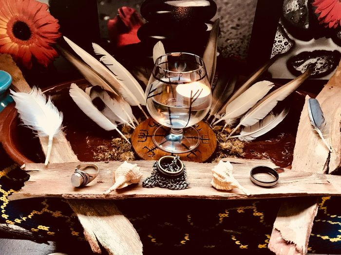 Altar Freyja Nordic Table Indoors  Still Life Household Equipment No People Glass High Angle View Nature