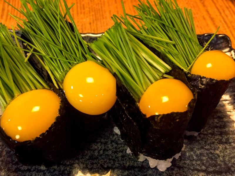 Egg Food High Angle View Egg Yolk Food And Drink Close-up Yellow Healthy Eating Freshness No People Eggshell Outdoors Day Menegi Sushi Japanese Food Japanese Photography in Tokyo Japan EyeEmNewHere