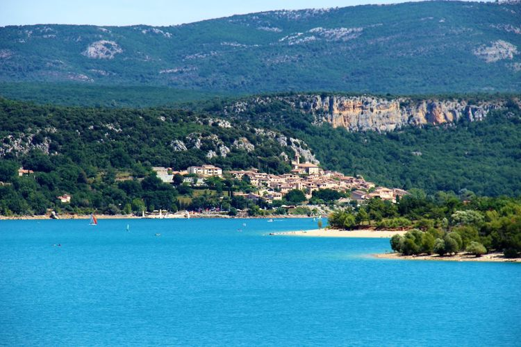 Provence Beauty In Nature Lac De Sainte-croix Lake Mountain Nature No People Scenics - Nature Tranquil Scene Tranquility Travel Destinations Tree Turquoise Colored Water