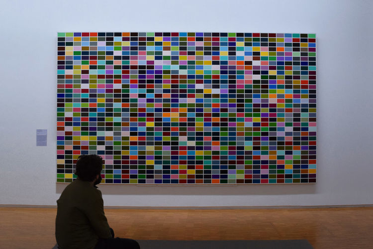 Taken (Gerhard Richter: 1024 Farben, 1973) Focus On The Story Gerhard Richter Art Indoors  Leisure Activity Looking Multi Colored One Person Pompidou Rear View Unrecognizable Person Creative Space