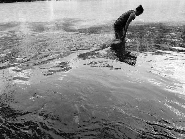 Woman In Water Woman River Isar Water Black And White Nature Day Outdoors Summer Exploratorium Focus On The Story Adventures In The City