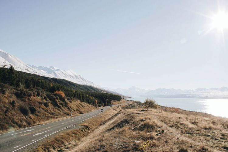 Road leading towards mountains
