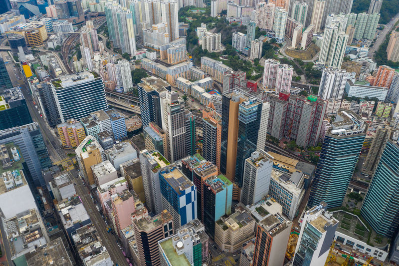 Hong Kong city Hong Kong Top View Building City Urban Downtown Kwun Tong Cruise Terminal Kowloon Bay District Infrastructure Business Financial ASIA Office Skyscraper Cityscape Architecture Residential  Metropolis Company Aerial Fly Drone  Over Above Down Top Down Bird Eye Hk Hong Kong