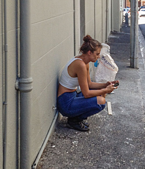 Alley Candid Casual Clothing CropTop Outdoors Ripped Jeans Sitting Smoke Break Streetphotography