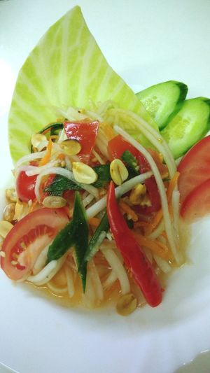 Som Tam Thai (Green Papaya Salad) Som Tam Thai Green Papaya Green Papaya Salad Thai Salad Thai Salad With Raw Papaya Salad Spicy Thai Food Spicy Food Food Healthy Eating Ready-to-eat Appetizer Tomato Plate Chili  Vegetable Sour Sweet Salt Green Red Thai Food Papaya Salad Papaya Foodpic