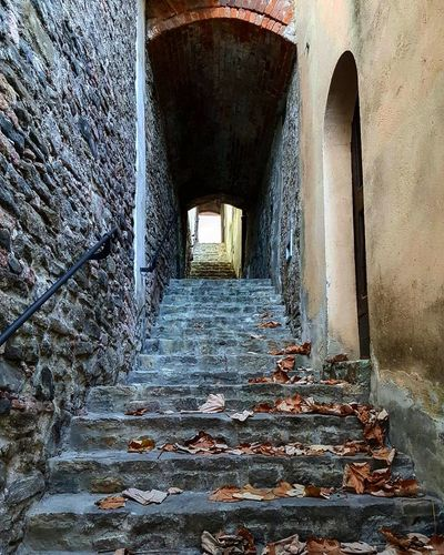 Built Structure Architecture No People Indoors  Steps Tunnel Day Oldstairs Oldhouses Oldsteps Goup Oldarchitecture Italy Langhe Barolo City Autumnleaves