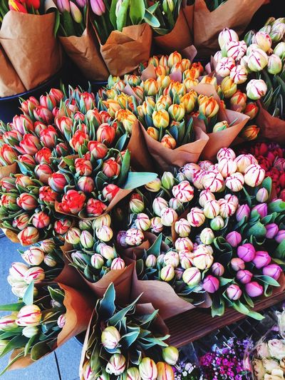 High Angle View Of Flowers For Sale In Market