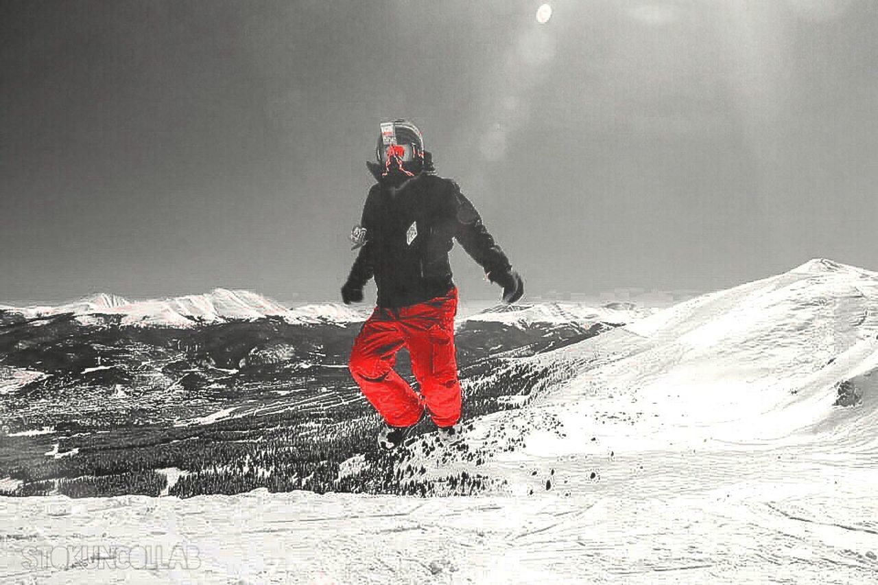 winter, snow, cold temperature, full length, one person, adventure, weather, mountain, real people, leisure activity, sport, warm clothing, frozen, outdoors, nature, day, landscape, lifestyles, helmet, beauty in nature, headwear, extreme sports, snowboarding, adult, sky, young adult, adults only, one man only, people