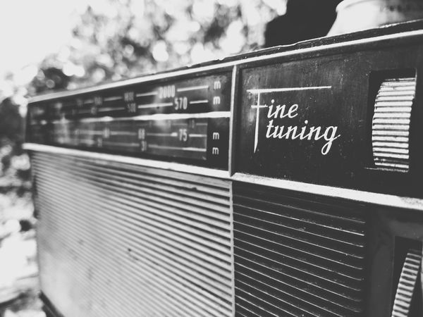 Radio Old Things Retro Style Old-fashioned Old Times Retro Font Blackandwhite Photography Black & White Outdoors Listening To Music Tuning Retro Design Black And White Photography Black&white Grayscale Monochrome Monochrome Photography Close-up Text Black & White Photography