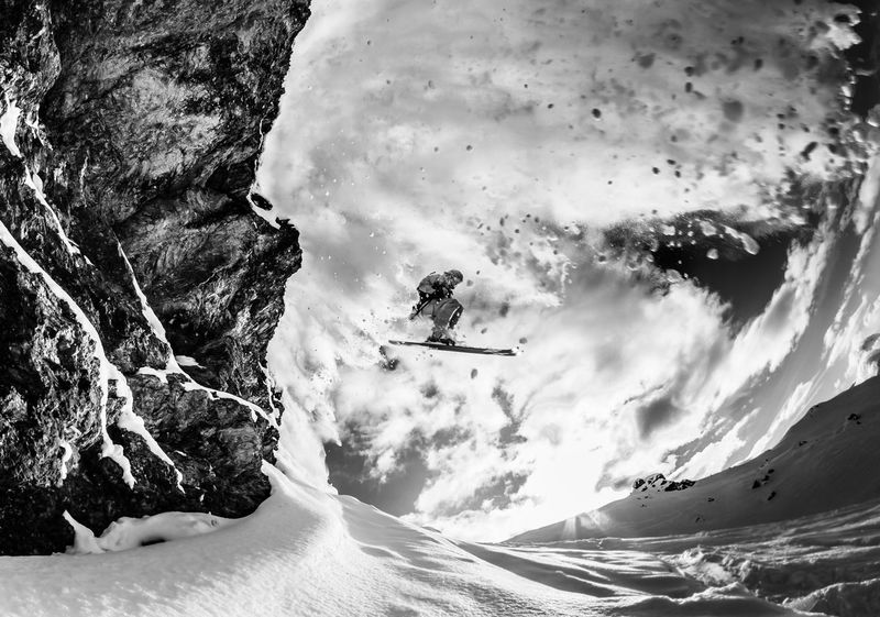 Action Shot  Back Lit Blackandwhite Photography Cliff Jumping Extreme Sports Freeriding Outdoors Ski Winter