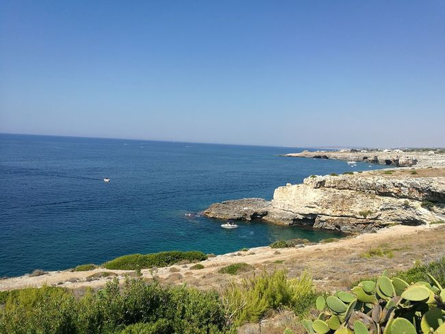 Leuca Sea Horizon Over Water Water Scenics Blue Tranquil Scene Tranquility Copy Space Clear Sky Beauty In Nature Idyllic Shore Nature Day Seascape Remote Non-urban Scene Outdoors Mountain Summer First Eyeem Photo