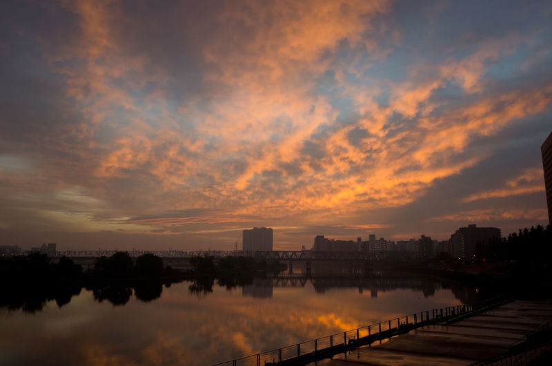 river view at dawn time Clouds And Sky DAWN TIME Dramatic Sky Fantasy Moody Sky Orange Color River View Sky Sunrise