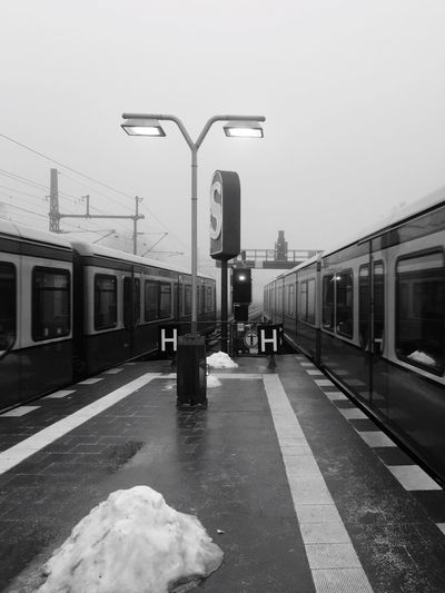 Transportation Public Transportation Mode Of Transport Train - Vehicle Railroad Platform City No People Winter Tristesse Blackandwhite Black And White EyeEmNewHere Trainspotting Sbahn Discover Berlin