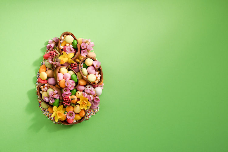 Directly above shot of multi colored candies on table