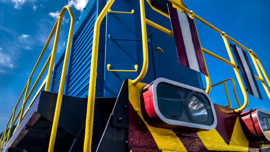 Train Locomotive Railway Museum Day Outdoors No People Yellow Blue Multi Colored Low Angle View Sky Close-up