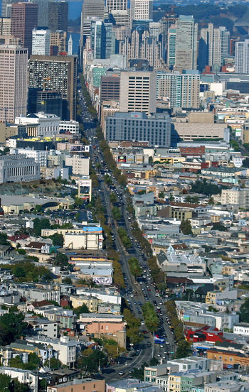 Aerial View OF Main Tree Lined STREET In City