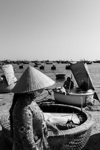 Bnw Boat Day Harbor Mode Of Transport Moored Nature Nautical Vessel No People Outdoors Sea Sky Transportation Vietnam Water