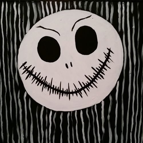 My Daughters Painting Daughters Art Jack Skellington The Nightmare Before Christmas Imagination Through A Childs Eyes Arts And Crafts Freehand Painting Black And White Tim Burton Style Childs Play Decoration Creativity Art Design Ideas