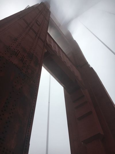 In The Fog Golden Gate Bridge San Fransico Built Structure Low Angle View Architecture Sky Nature Day No People Travel Destinations City Bridge - Man Made Structure Outdoors First Eyeem Photo The Traveler - 2018 EyeEm Awards The Architect - 2018 EyeEm Awards EyeEmNewHere