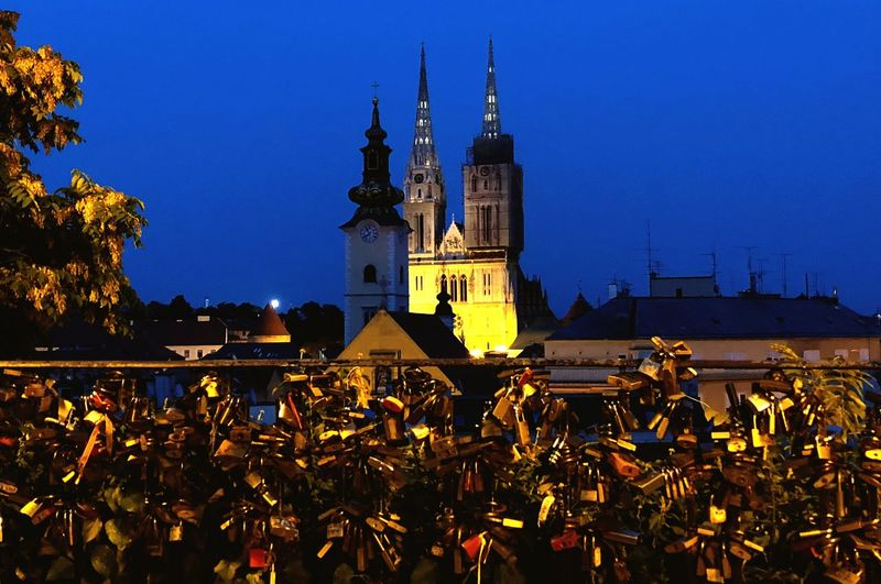 Zagreb by night Nice Destination Vacations Summer Warm Light Vowels Locks Of Love Locks Architecture Built Structure Building Exterior Sky Building Religion Illuminated Place Of Worship Night Nature City Tower Outdoors Clear Sky