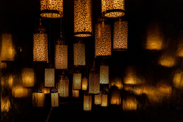Marrakesh Marrakech Morocco Travel Destinations Travel Travel Photography Indoors  No People Pattern Close-up Full Frame Still Life Large Group Of Objects Lighting Equipment Illuminated Night Glowing Design Architecture Shadow In A Row
