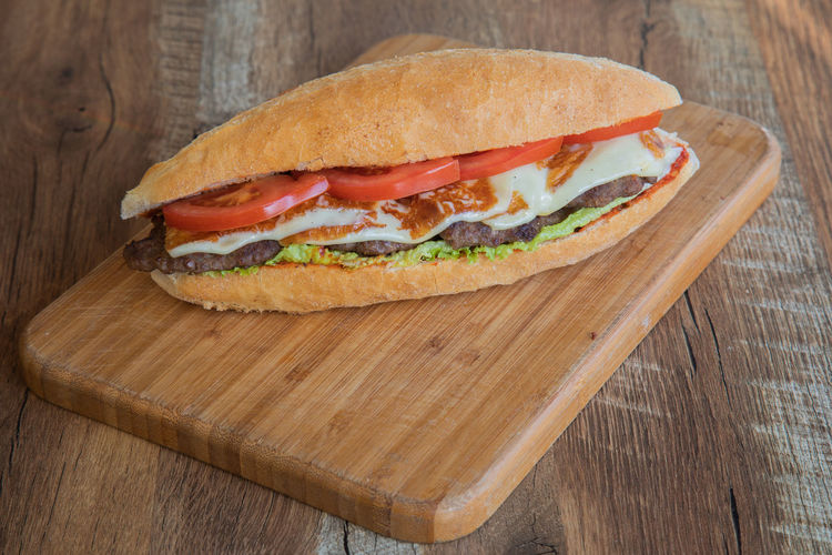 Close-up of sandwich on cutting board