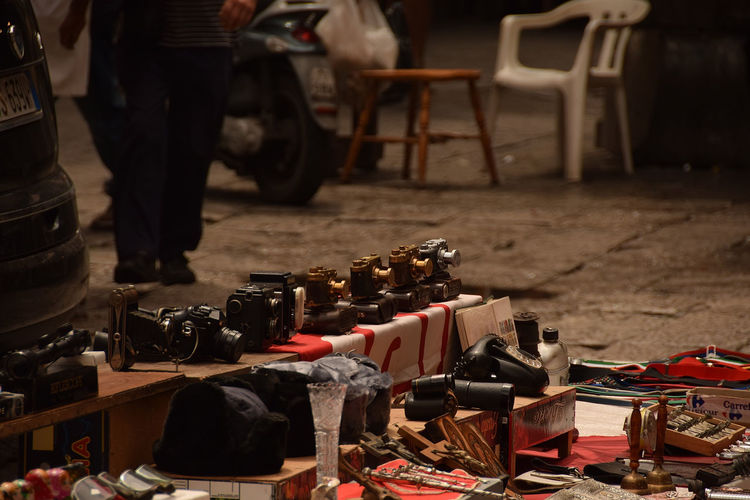 High Angle View Of Various Objects For Sale At Market
