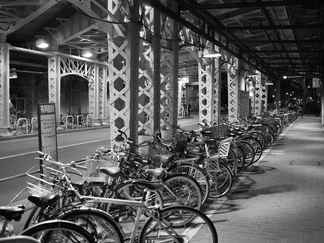 Blackandwhite Bicycles Overpass