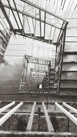 Stairways to heaven... Stairs Stairways Perspective B&w Height Blackandwhite Emergency Stairs