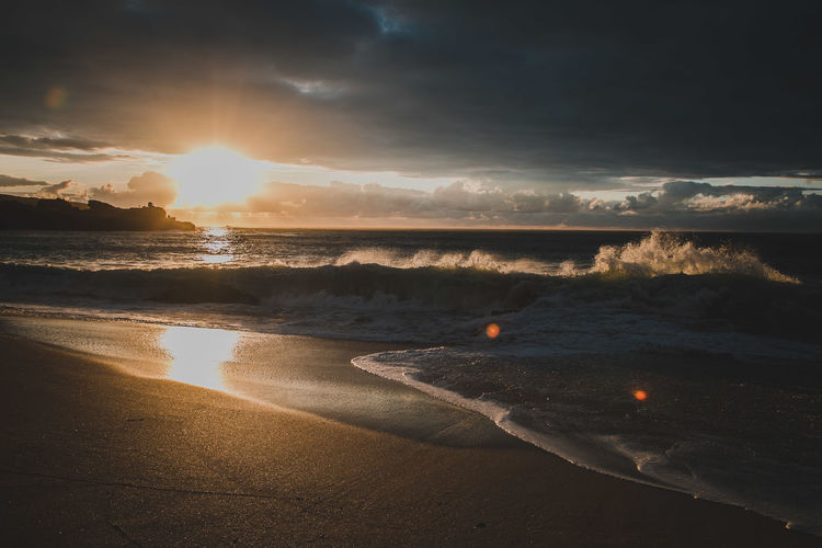 Beach Beauty In Nature Cloud - Sky Horizon Horizon Over Water Idyllic Land Lens Flare Nature No People Outdoors Power In Nature Reflection Scenics - Nature Sea Sky Sun Sunlight Sunset Tranquil Scene Tranquility Water The Traveler - 2018 EyeEm Awards