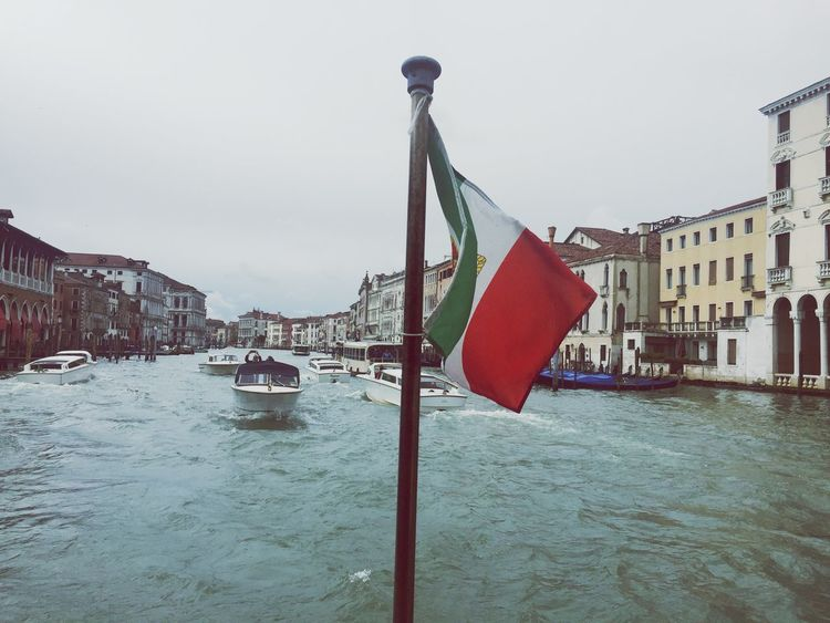 Italy Venice, Italy Flag Windy Water Canal