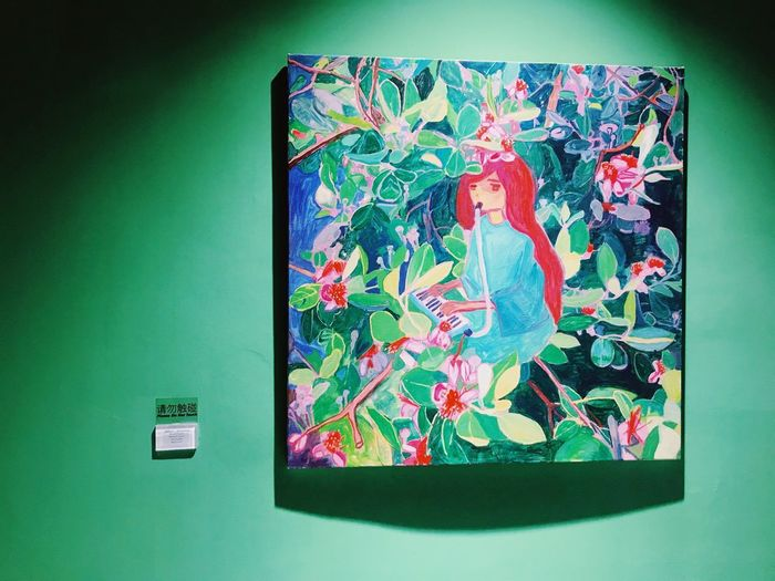 ArtWork Art Painting Exhibition Indoors  No People Green Color Multi Colored Creativity Representation Pattern Art And Craft