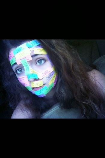 i think im the only person that puts labels all over their face because theirs nothing else to do... Haha its still fun