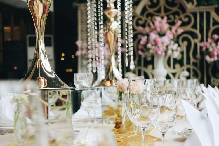 Wineglasses on dinning table at wedding