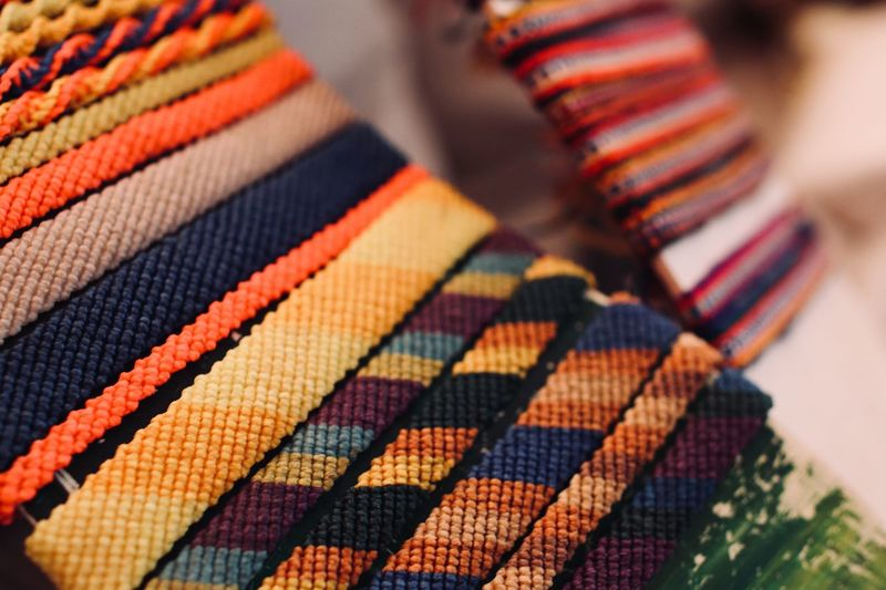 High angle view of colorful textile