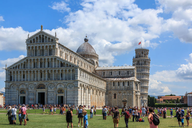 Piazza dei Miracoli with the leaning tower of Pisa and the Cathedral Santa Maria Assunta, Tuscany, Italy Piazza Dei Miracoli Pisa Schiefer Turm Von Pisa Adult Architecture Baptistery Building Exterior Built Structure Cloud - Sky Crowd Day Dome Group Of People History Large Group Of People Men Outdoors Real People Sky The Past Tourism Travel Travel Destinations Visit Women