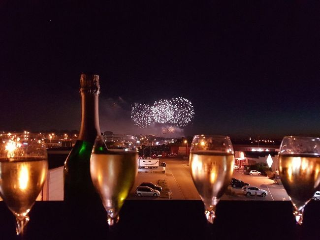 14 juillet 2017 Night Illuminated Alcohol Wineglass Food And Drink Celebration Burning Flame Champagne Flute No People Champagne Wine Sky Outdoors Water Freshness Close-up Nature