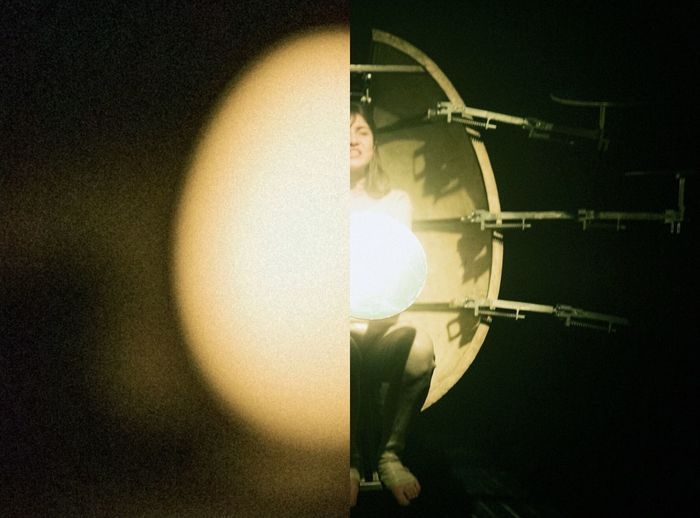 Close-up of lighting equipment on stage