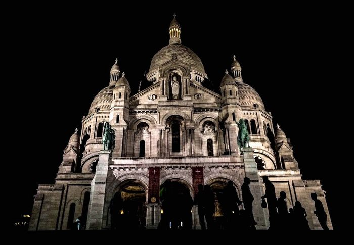 Church Sacré Coeur, Paris Travel Architecture Building Exterior Built Structure Church Architecture City By Night Clear Sky Dome History International Landmark Light And Shadow Low Angle View Night Outdoors Place Of Interest Place Of Worship Religion Sky Spirituality Tourism Travel Travel Destinations Worm's-eye View