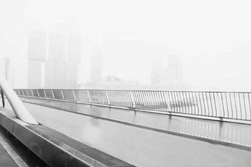 Erasmusbrug Rotterdam Cruise Ship Buildings Glitch Fog Mist Black&white