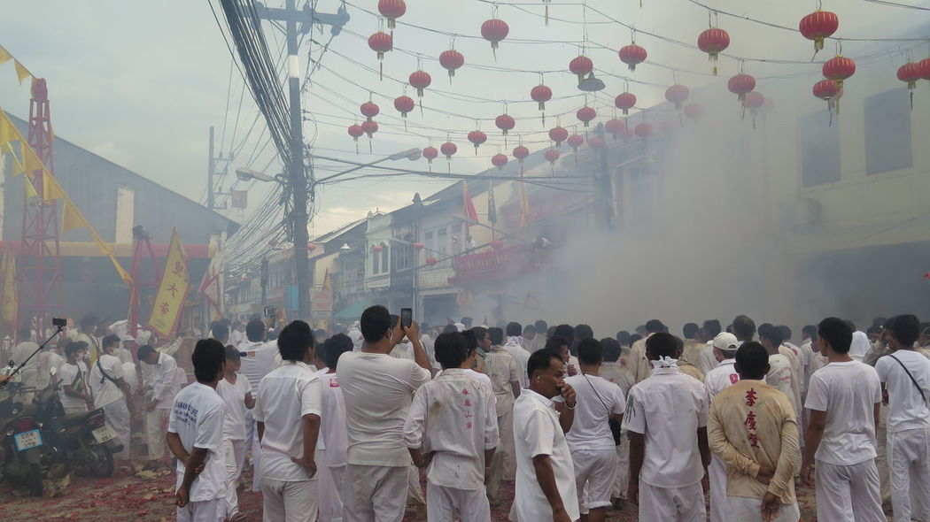 Asin Chinese New Year Crowd Culture Cultures Day Fireworks Fog Foggy Full Length Large Group Of People Men Person Rear View Red Tradition