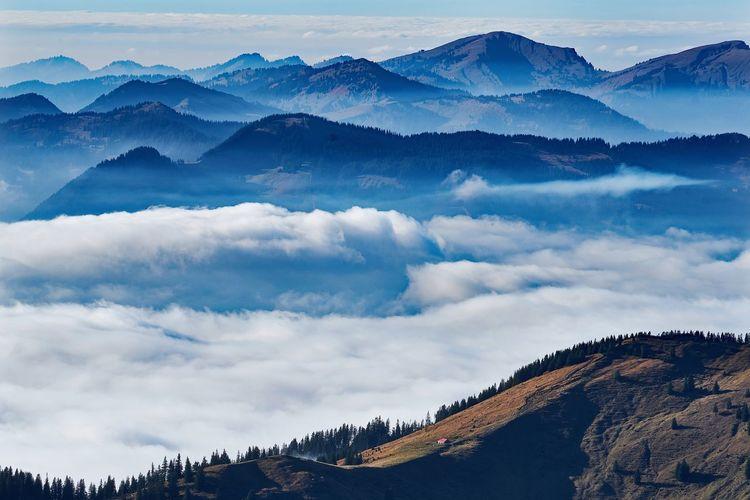 German alps view over mystic landscape
