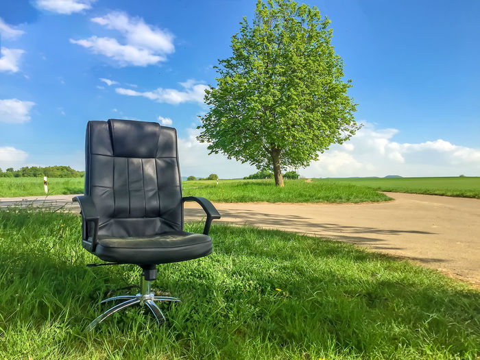 Burnout Escaping Green Healthcare Office Stress Vacations Absence Chair Environment Escape Grass Health Job Nature No People Office Chair Outdoors Psychology Relax Resting Seat Time Tranquility Vacation