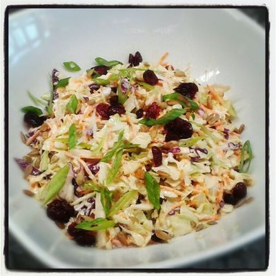 Coleslaw Fresh Bushfiregrill Topped with dried cranberries, sliced scallions, toasted sunflower seeds!