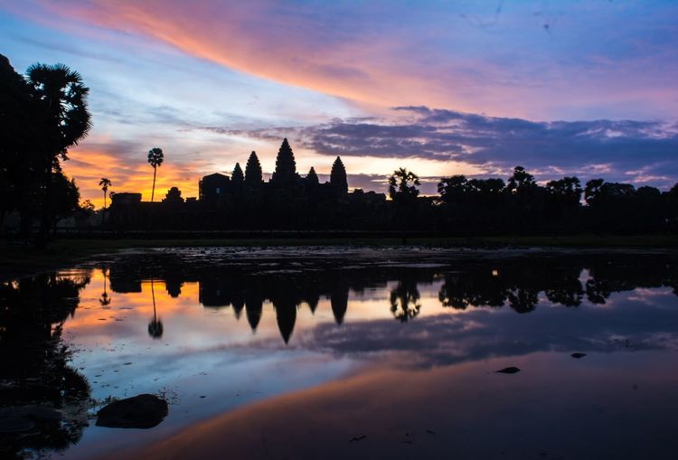Morning sunrise at Angkor Wat Sunrise Reflections Histoty Dawn Culture Colorful Cambodia Beutiful  Art Angkor Wat Ancient Reflection Sky Sunset Water Cloud - Sky Built Structure Silhouette Architecture Building Exterior Travel Destinations Beauty In Nature Outdoors Tree Nature No People EyeEmNewHere
