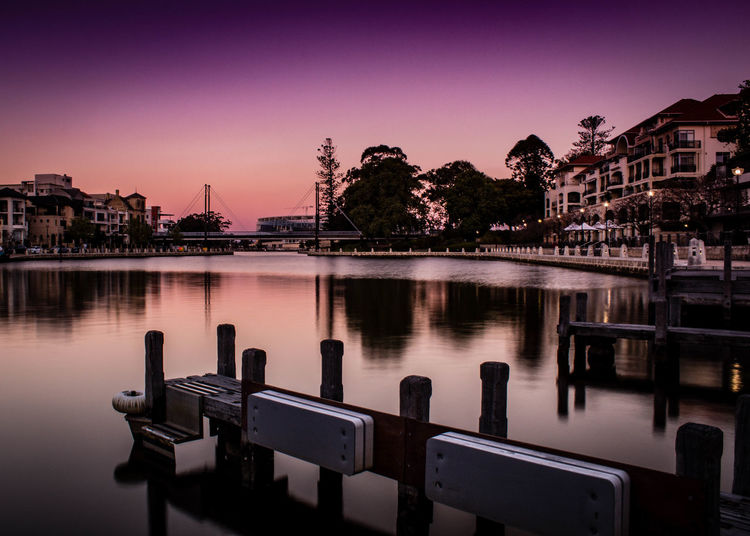 Dusk and Purple Sky at Claisebrook Perth Perth Perth Australia Architecture Building Building Exterior Built Structure City Dusk Illuminated Nature No People Outdoors Reflection Residential District River Sky Sunset Travel Destinations Tree Water Waterfront