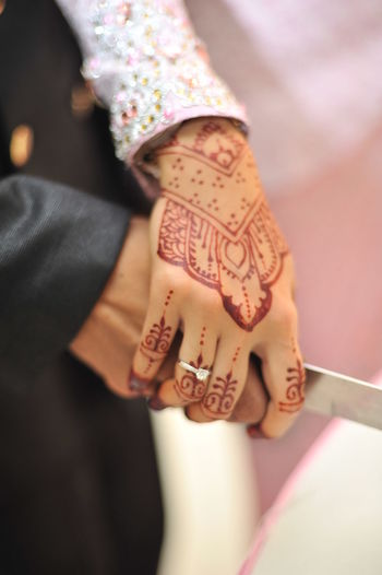 Cropped Image Of Husband And Wife Hands Holding Knife During Wedding