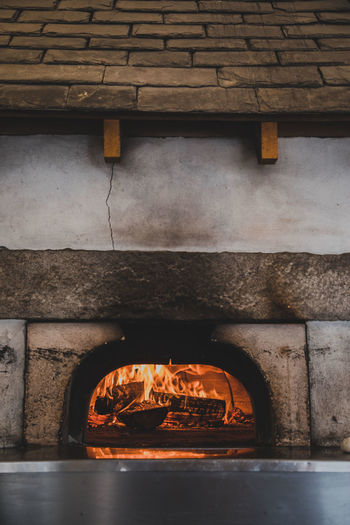 Burning firewood in oven