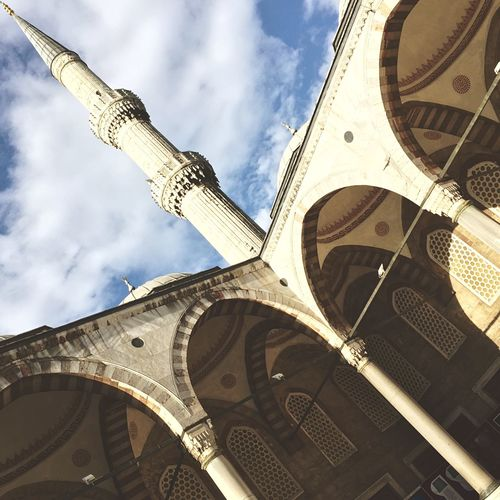 Low angle view of sultan ahmed mosque against clear sky