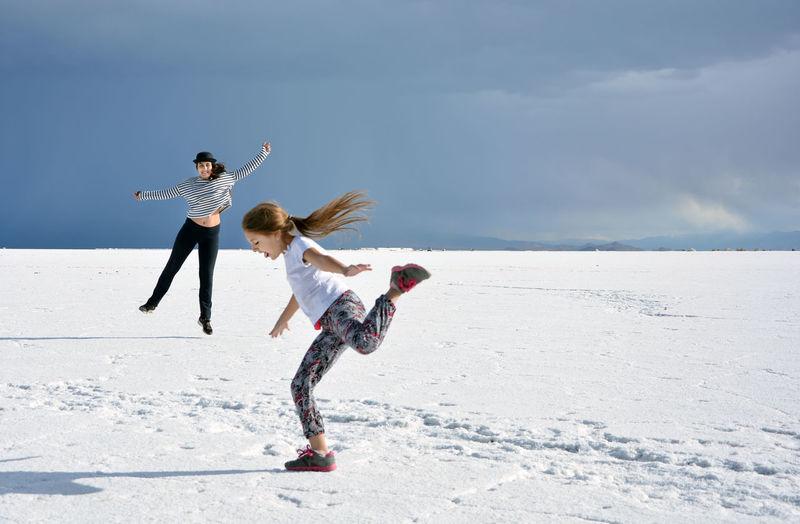 Full length of woman running on land